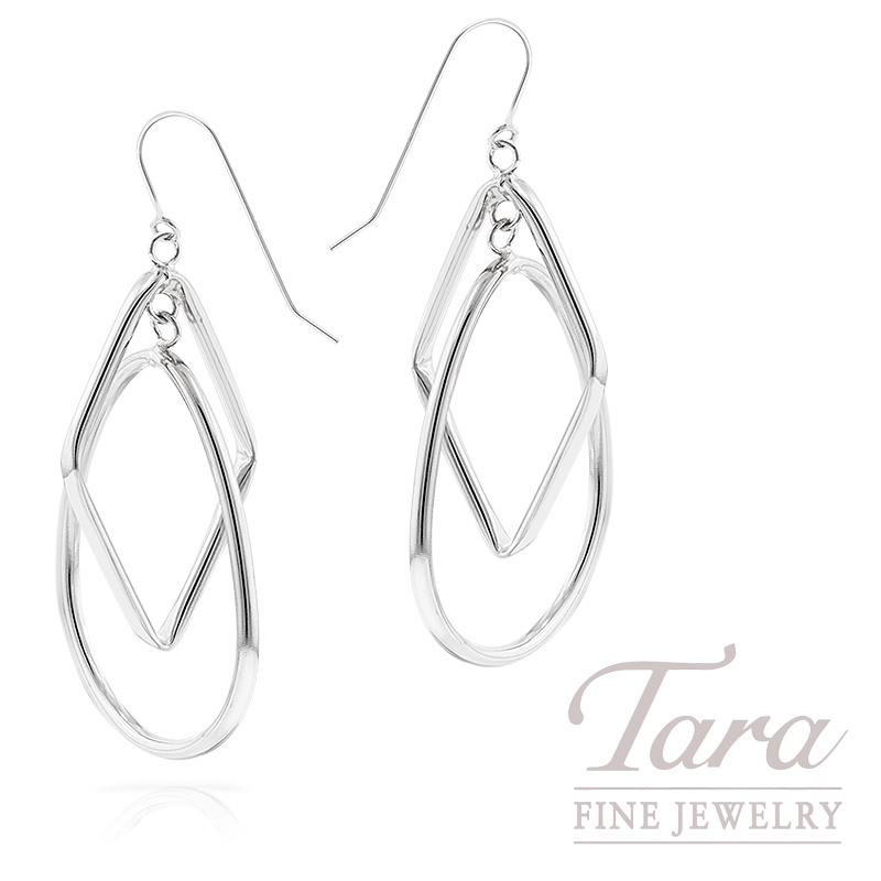 Dangle Earrings in 14K White Gold, 2.3 Grams