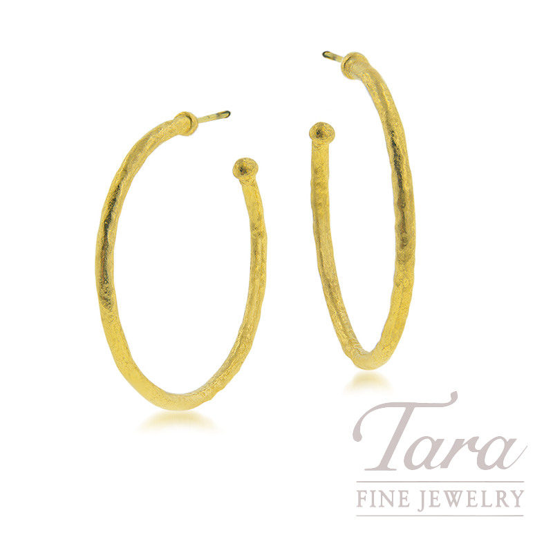 24K Yellow Gold Hammered Hoop Earrings, 7.1G