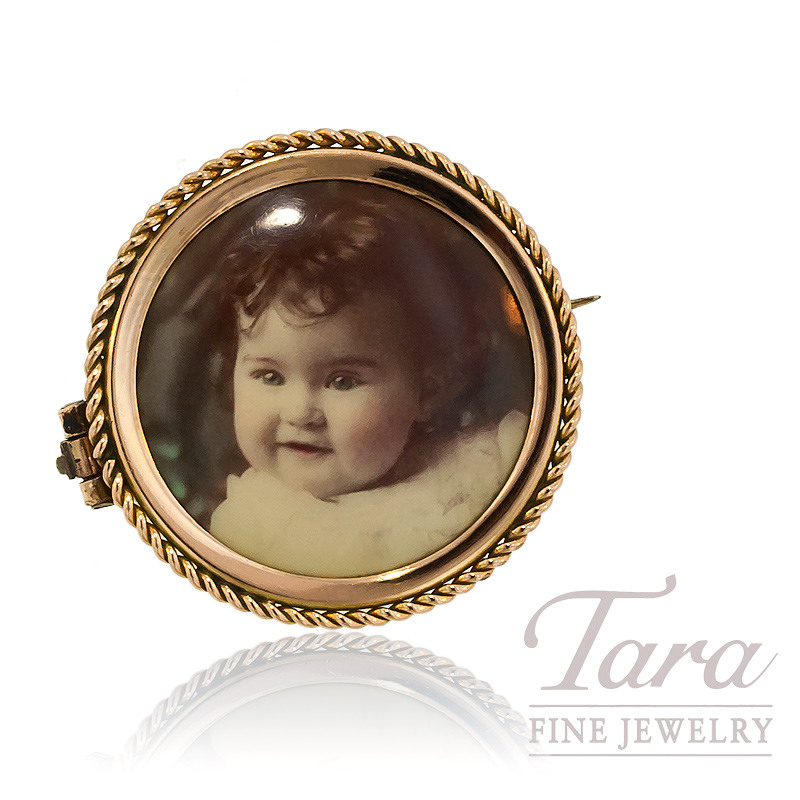 Picture Frame Brooch in 10K Yellow Gold, 5.2 Grams
