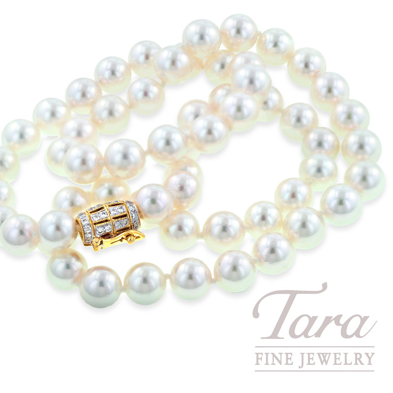 Pearl Strand with Yellow Gold Diamond Clasp - Click For Available Sizes & Lengths!