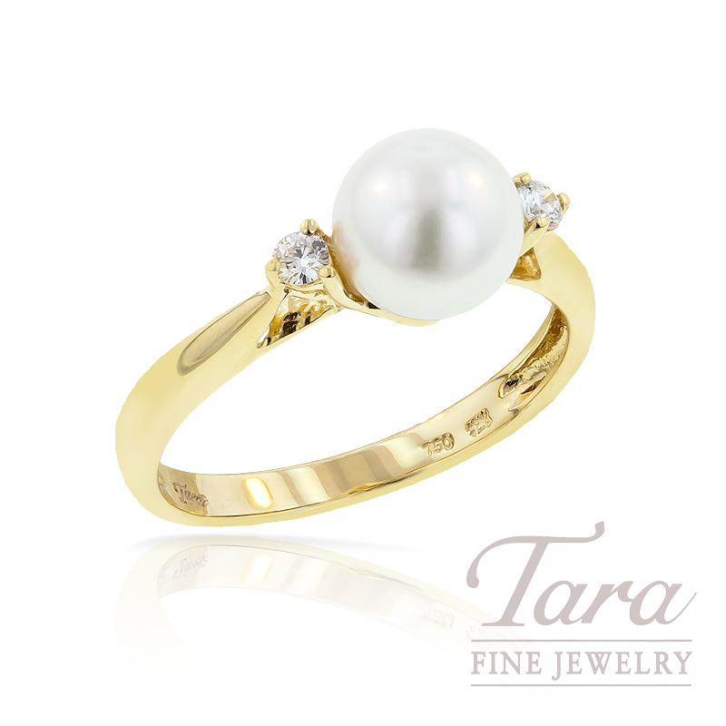 Pearl & Diamond Ring in 18K Yellow Gold,  7.5mm Pearl, .08ct tdw.