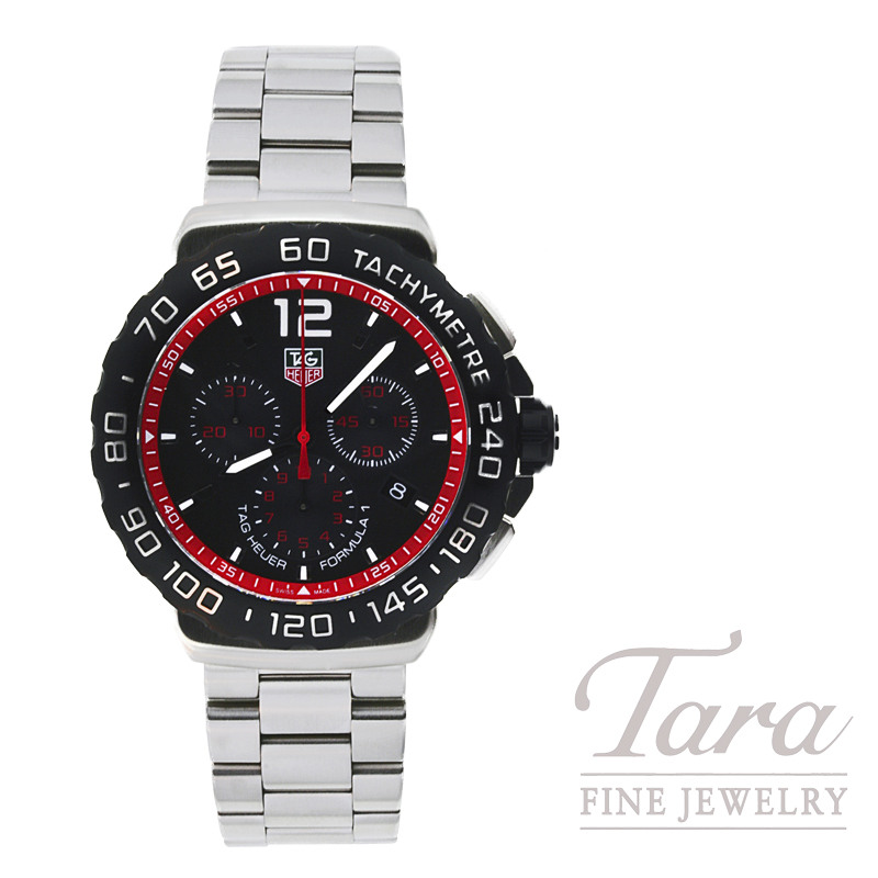 Tag Heuer Watch 42mm Formula 1 Chronograph Black With Red Flange Dial Tara Fine Jewelry