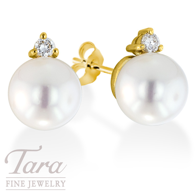 Pearl and Diamond 18K Yellow Gold Earrings 8MM .09TDW