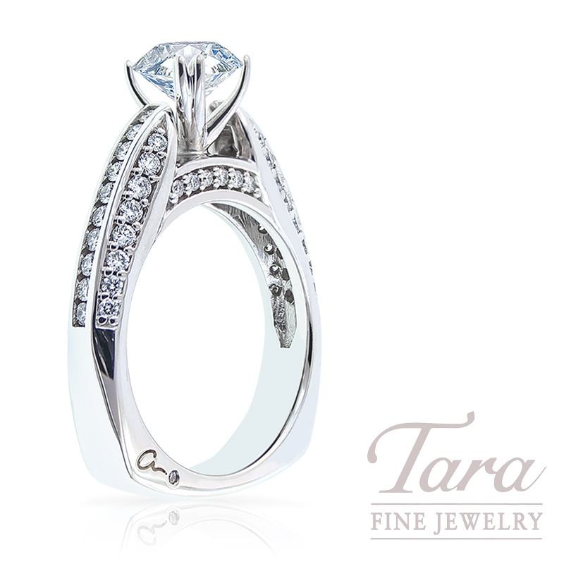 Diamond Engagement Ring by A. Jaffe in 18K White Gold, .74 TDW (Center stone sold separately)