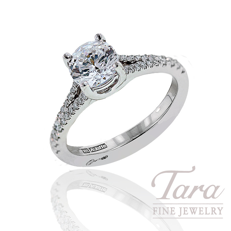 Diamond Engagement Ring by A. Jaffe in 18K White Gold, .20 CT TW (Center stone sold separately).