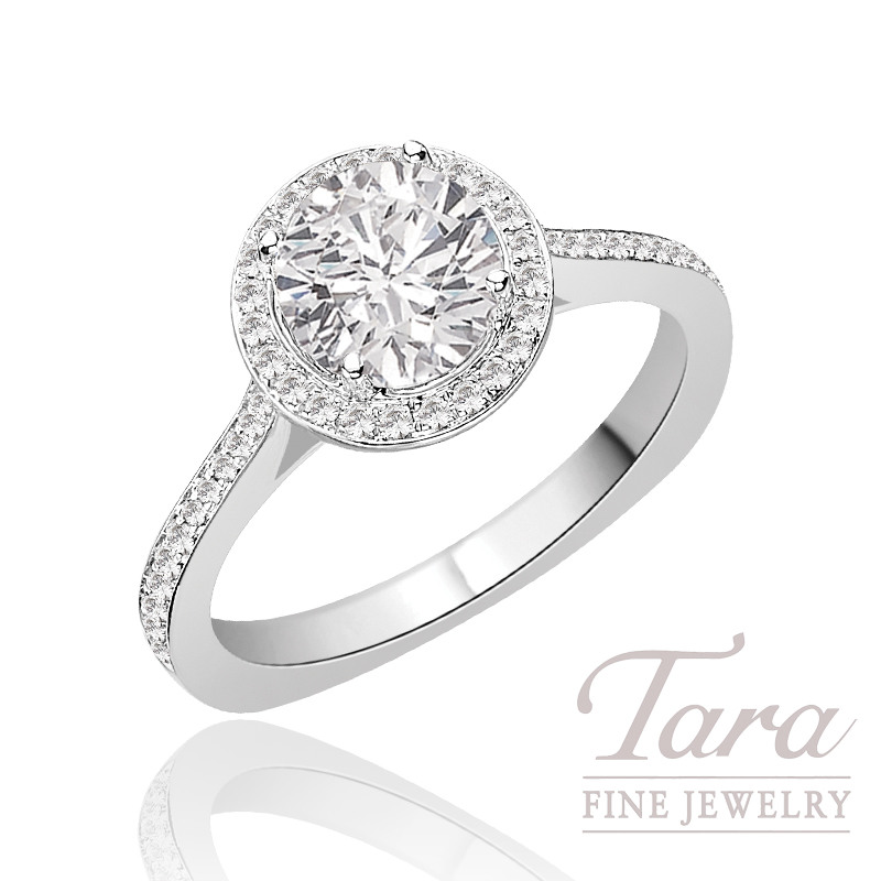 Diamond Engagement Ring by A. Jaffe in 18K White Gold, .30 CT TW (Center stone sold separately).