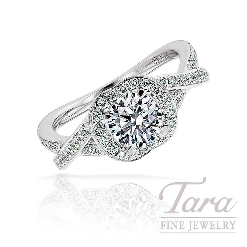 A. Jaffe 18K White Gold Engagement Ring (Center Stone Sold Separately)