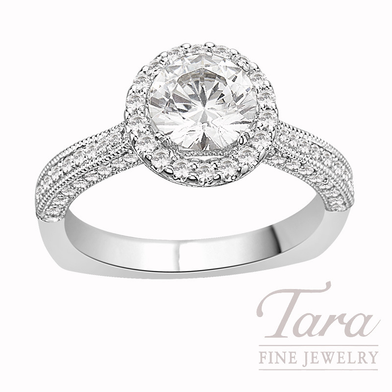 Diamond Engagement Ring by A. Jaffe  in 18K White Gold, .44 CT TW (Center stone sold separately).