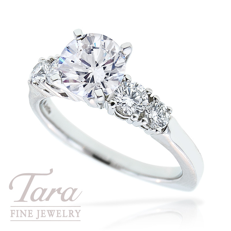 Diamond Engagement Ring by A. Jaffe in Platinum, .60 TDW (Center stone sold separately)