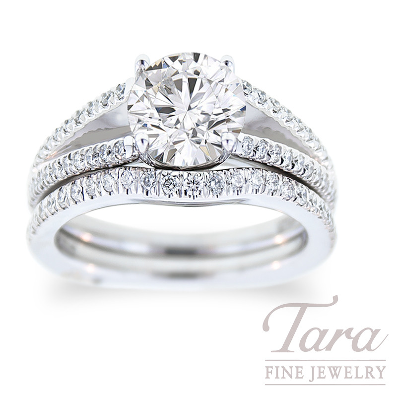 Diamond Engagement Ring by A. Jaffe in 18K White Gold, .34TDW & Band, .21 TDW (Center stone sold separately)