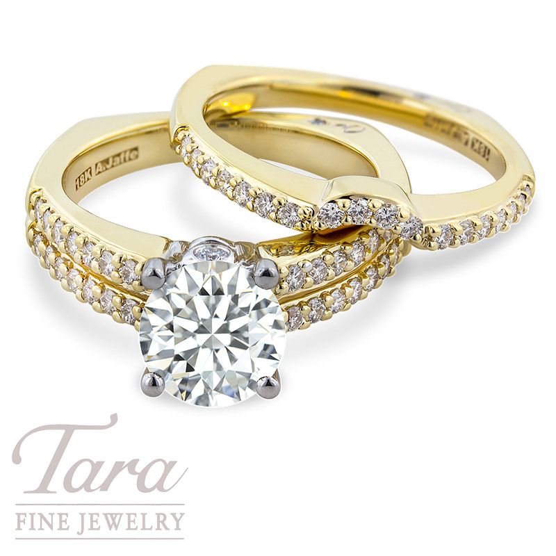 A. Jaffe Diamond Wedding Set in 18k Yellow Gold .39 TDW Semi; .23 TDW Band (Center Stone Sold Separately)