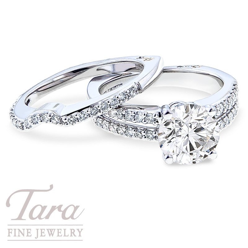Diamond Engagement Ring and Band by A. Jaffe, .62 TDW (Center stone sold separately)