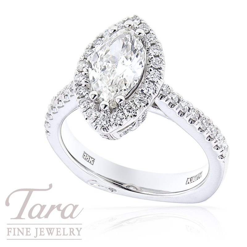 Marquise Diamond Ring by A. Jaffe in 18K White Gold, 1.60 TDW