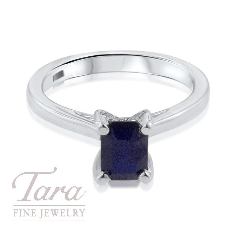 A. Jaffe Sapphire and Diamond Ring in 18K White Gold .05TDW, 1.18CT Sapphire