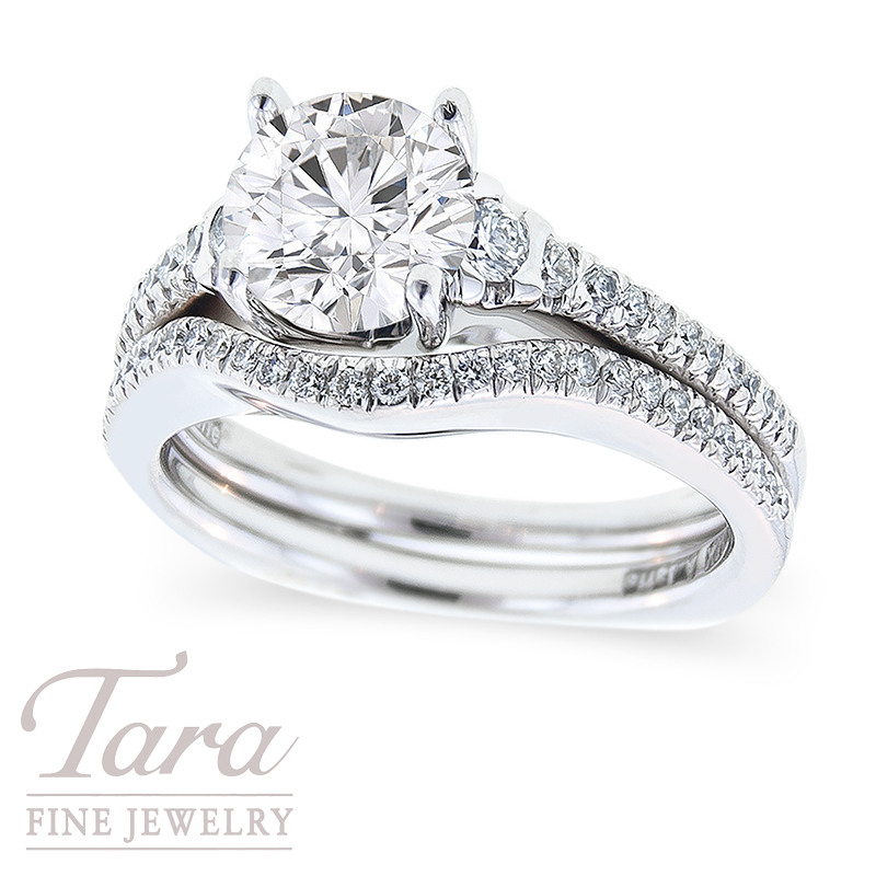 Diamond Engagement Ring by A. Jaffe in 18K White Gold, .30 TDW & Fitted Band, .16 TDW (Center stone sold separately)