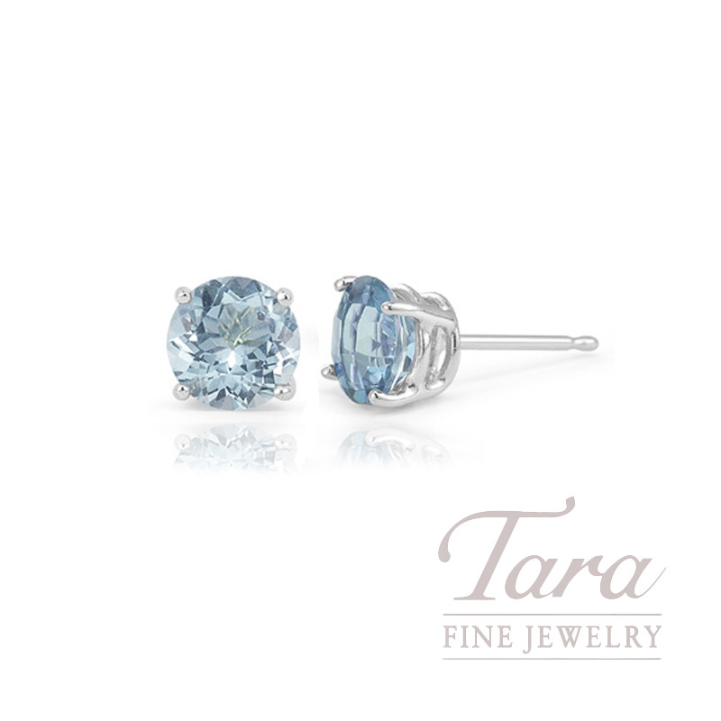 14K Auquamarine White Gold Stud earrings, .67TW