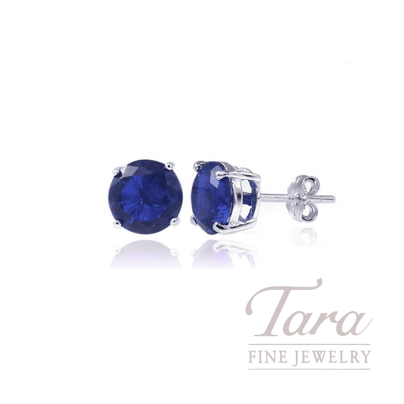 14K Sapphire Stud Earrings, .57TW
