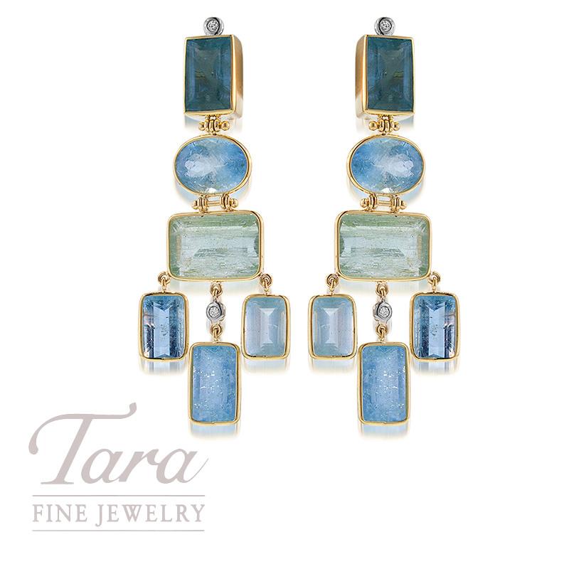 Aquamarine and Diamond Earrings in 18K Yellow Gold .20TDW
