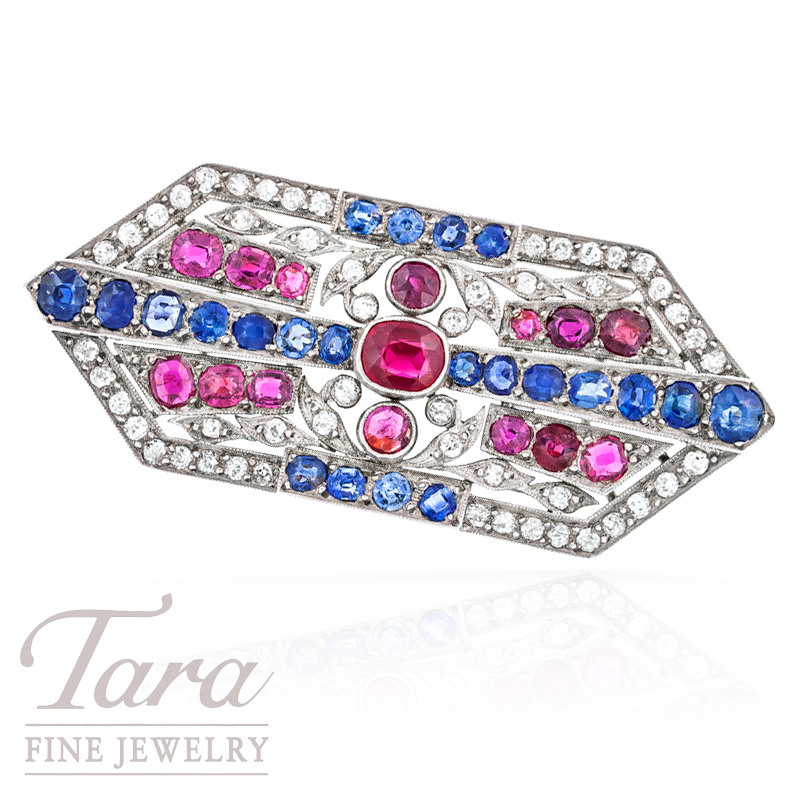 Art Deco Diamond, Sapphire, and Ruby Brooch