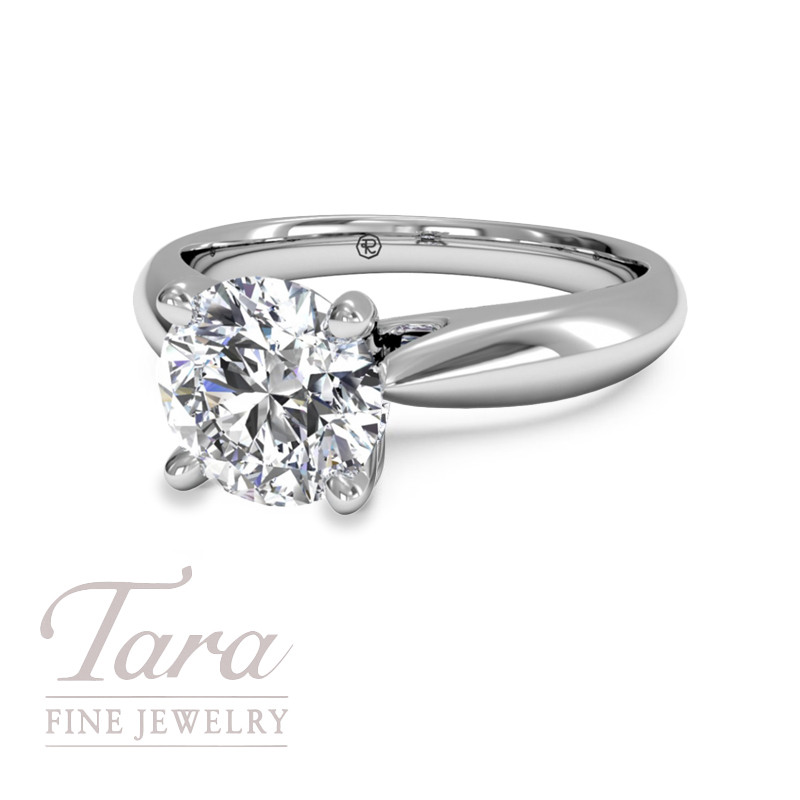 Solitaire Diamond Cathedral Tapered Engagement Ring in 18K White Gold (center stone sold separately)