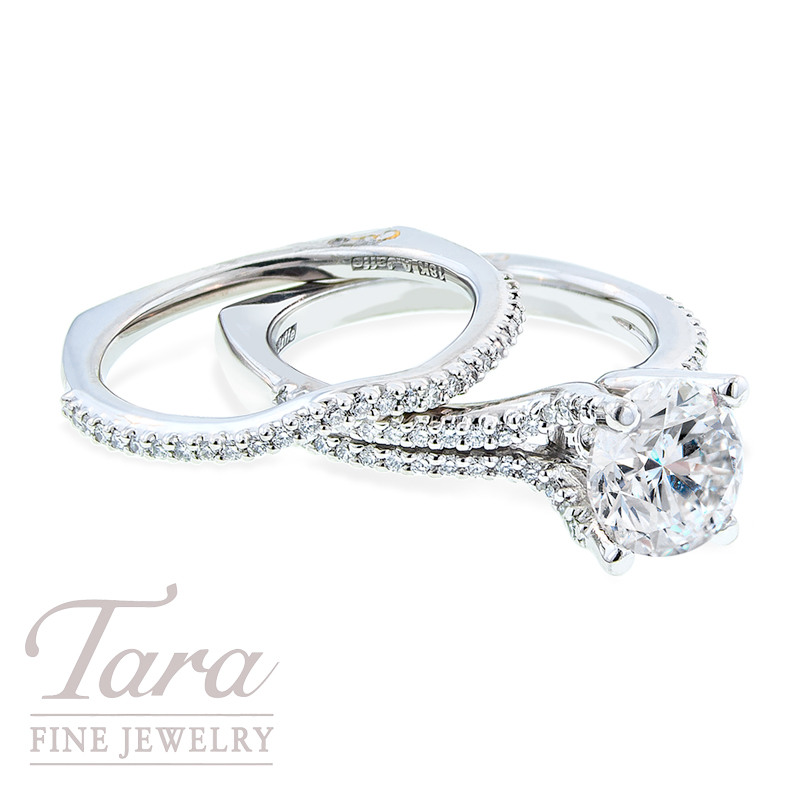 Diamond Engagement Ring by A. Jaffe in 18K White Gold, .43 TDW (Center stone sold separately)