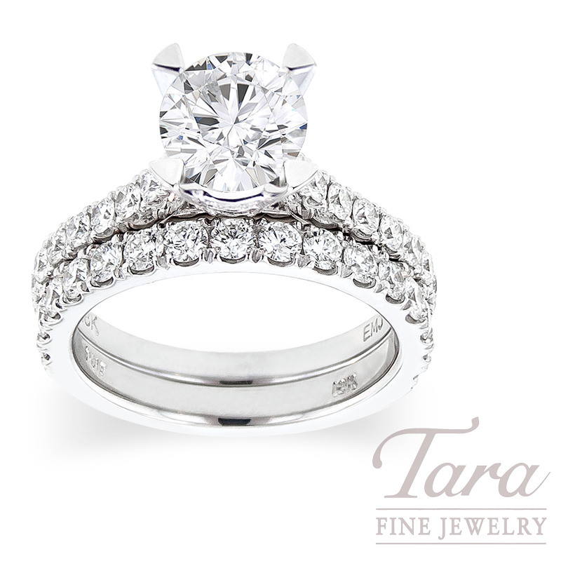 Diamond Engagement Ring in 18K White Gold Classic Half-Eternity Style, .61 TDW & Band, .75TDW (Center stone sold separately)