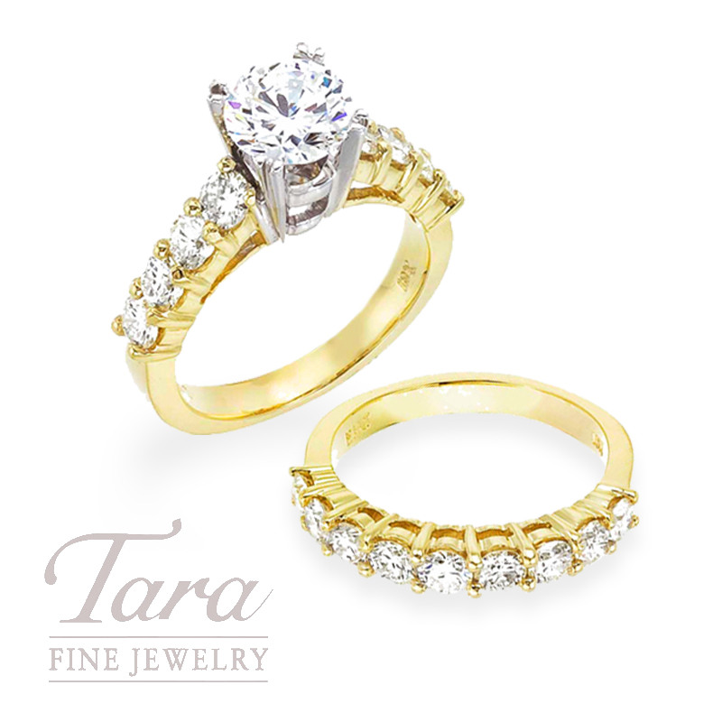 Diamond Engagement Ring and Diamond Band in 18K Yellow Gold, 2.42 TDW (Center stone sold separately)