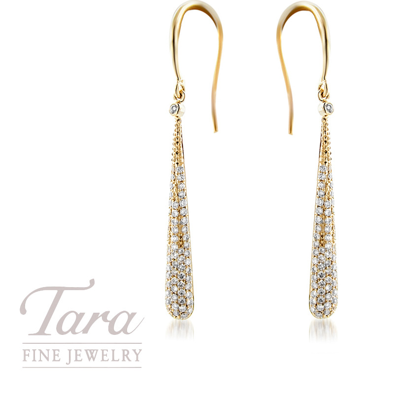 18k Yellow Gold Diamond Drop Earrings 2 6g 54tdw