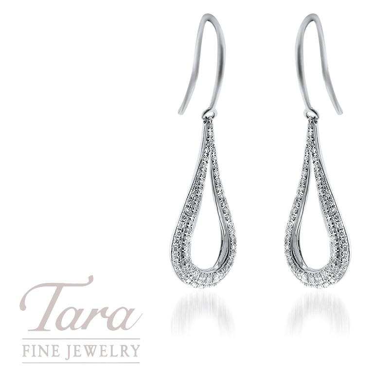 Diamond Dangle Earrings in 18K White Gold .40TDW