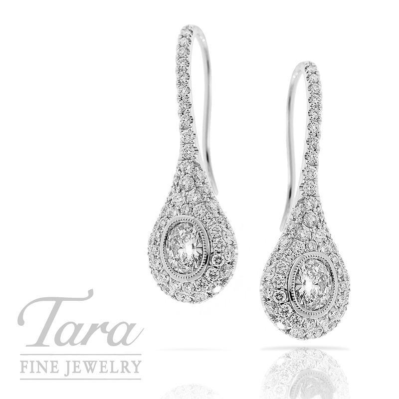 Diamond Drop Earrings in 18K White Gold 1.26TDW Accent .46TDW Oval