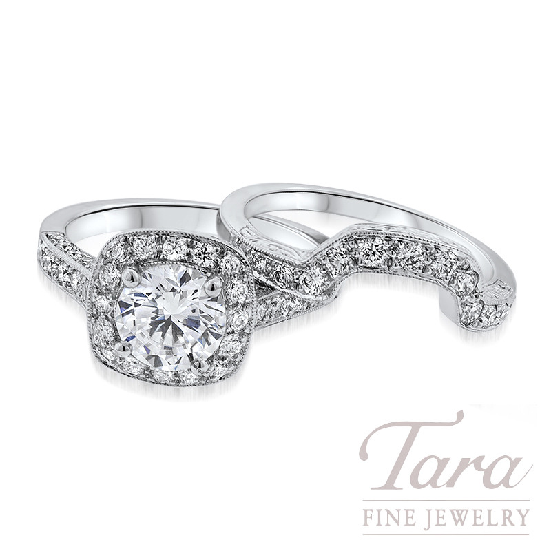 Diamond Engagement Ring and Matching Band in 18K White Gold .79TDW Ring, .27TDW Band (Center Stone Sold Separately)
