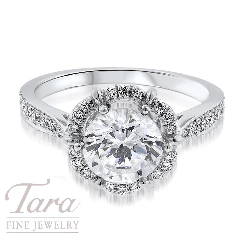 Diamond Engagement Ring in 18K White Gold .34TDW (Center Stone Sold Separately)