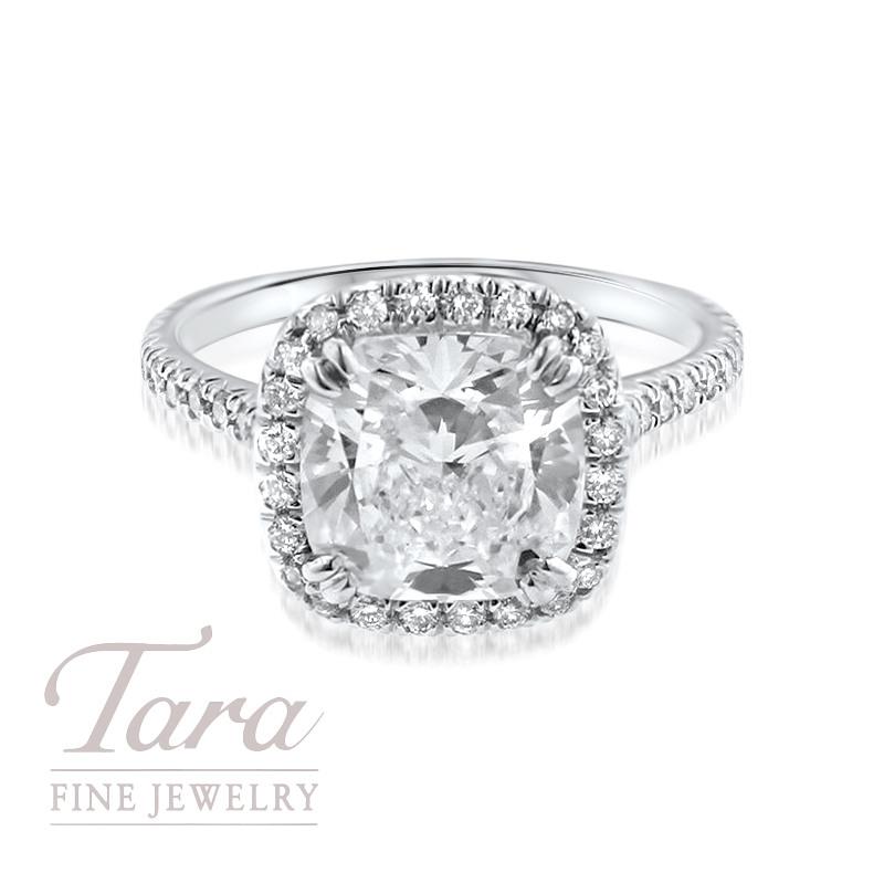 Forevermark Diamond Engagement Ring in 18K White Gold .40TDW Halo, 3.03CT Forevermark Cushion Center