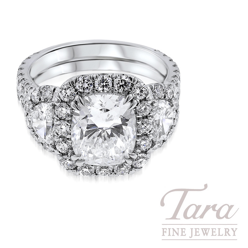 Cushion Cut Diamond Engagement Ring in Platinum 1.72TDW Round, .65TDW Half Moon, 3.01CT Center