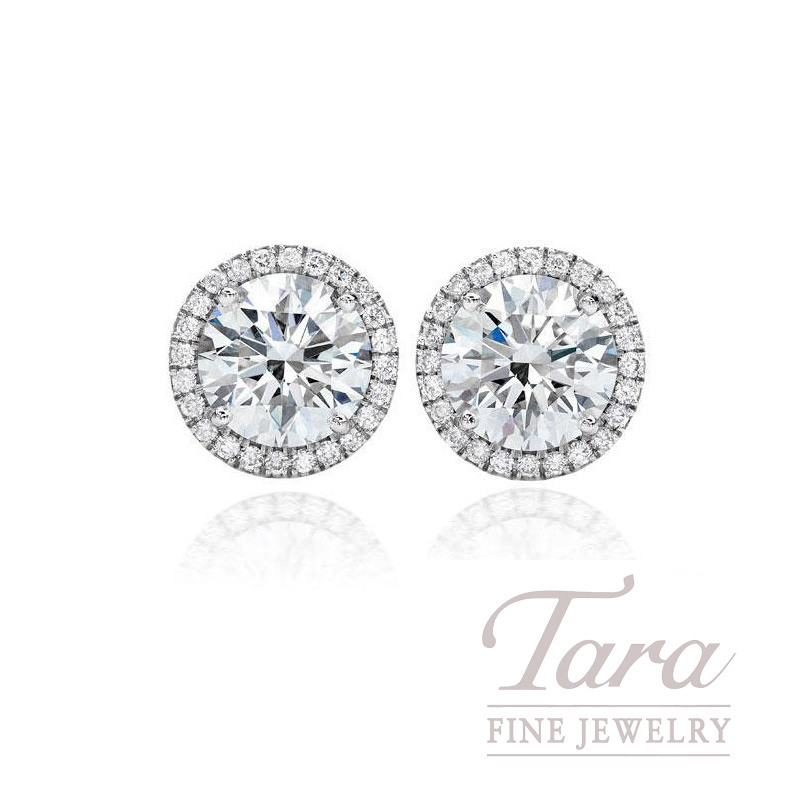 Diamond Halo Stud Earrings in 18K White Gold (Click For Available Sizes!)