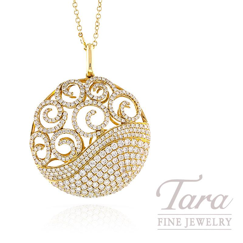 Diamond Medallion Pendant with Chain in 18K Yellow Gold, 3.88TDW Pendant, .40TDW Chain