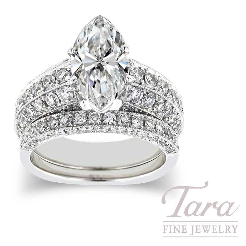 Diamond Engagement Ring in 18K White Gold, 1.44 tdw & Band, .53tdw (Center stone sold separately)