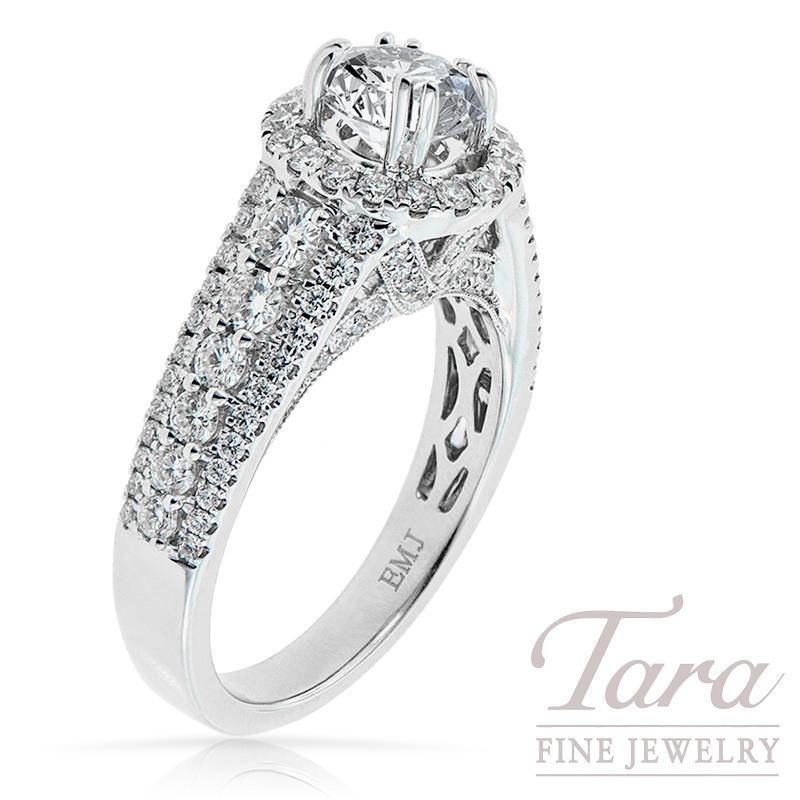 Diamond Engagement Semi-Mount in 18k White Gold 1.19 TDW (Center Stone Sold Separately)