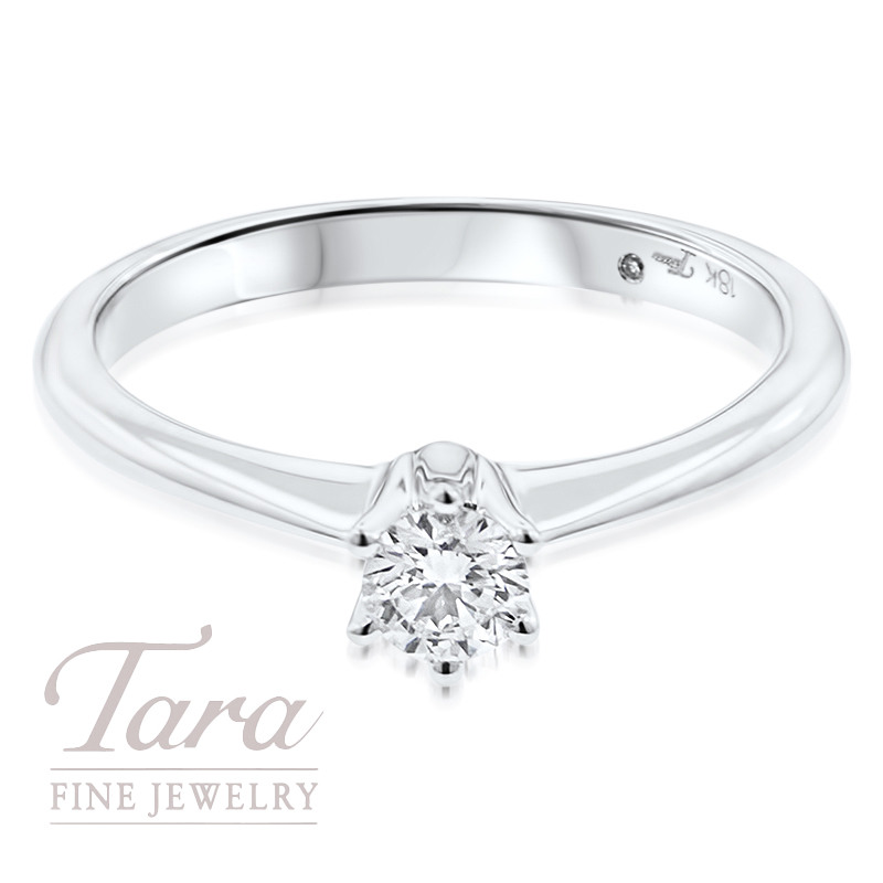 Diamond Soitaire Engagement Ring 18k White Gold .24CT Center Stone