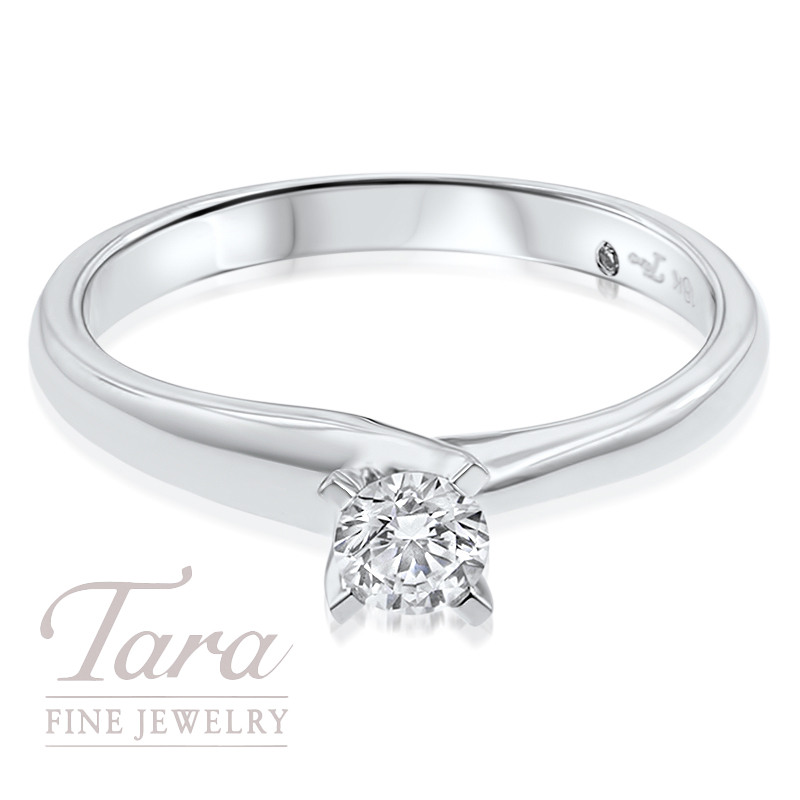 Diamond Solitaire Engagement Ring 18k White Gold .24CT Center Stone