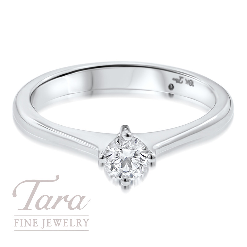Diamond Solitaire Engagement Ring in 18K White Gold .28CT Center