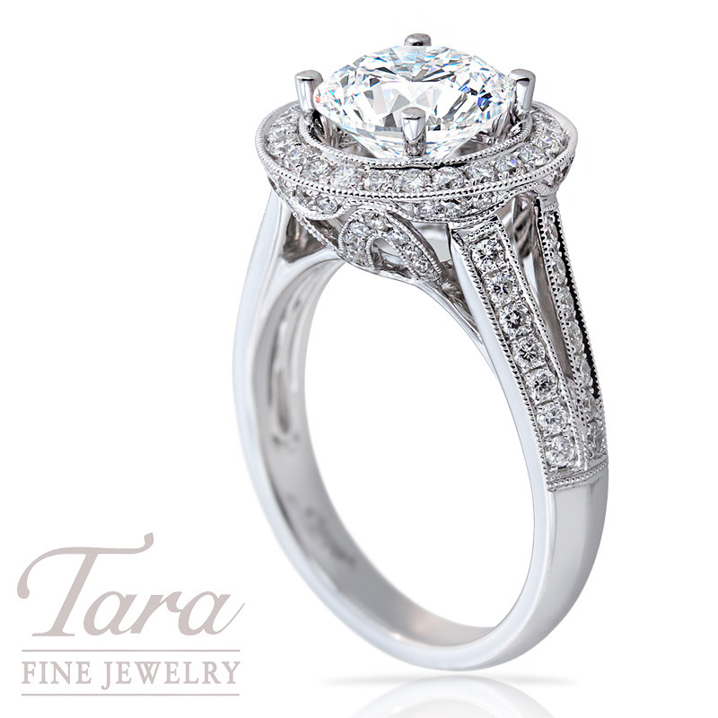 Diamond Wedding Ring in 18K White Gold, 3/4 CT TW.