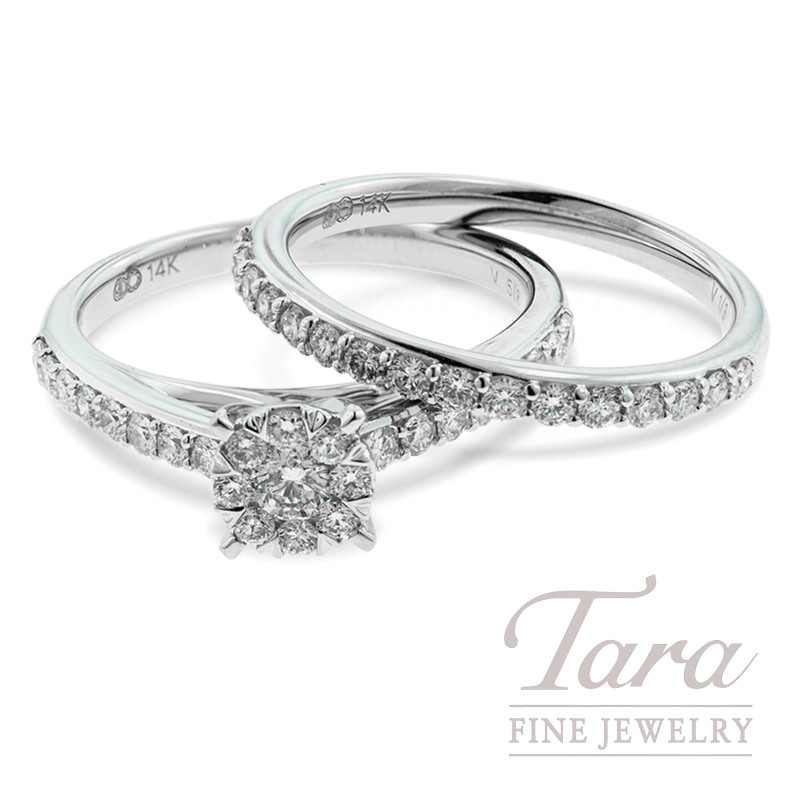 Diamond Wedding Set 14K White Gold, .62TDW Semi Mount, .33TDW Band (Center Stone Sold Separately)