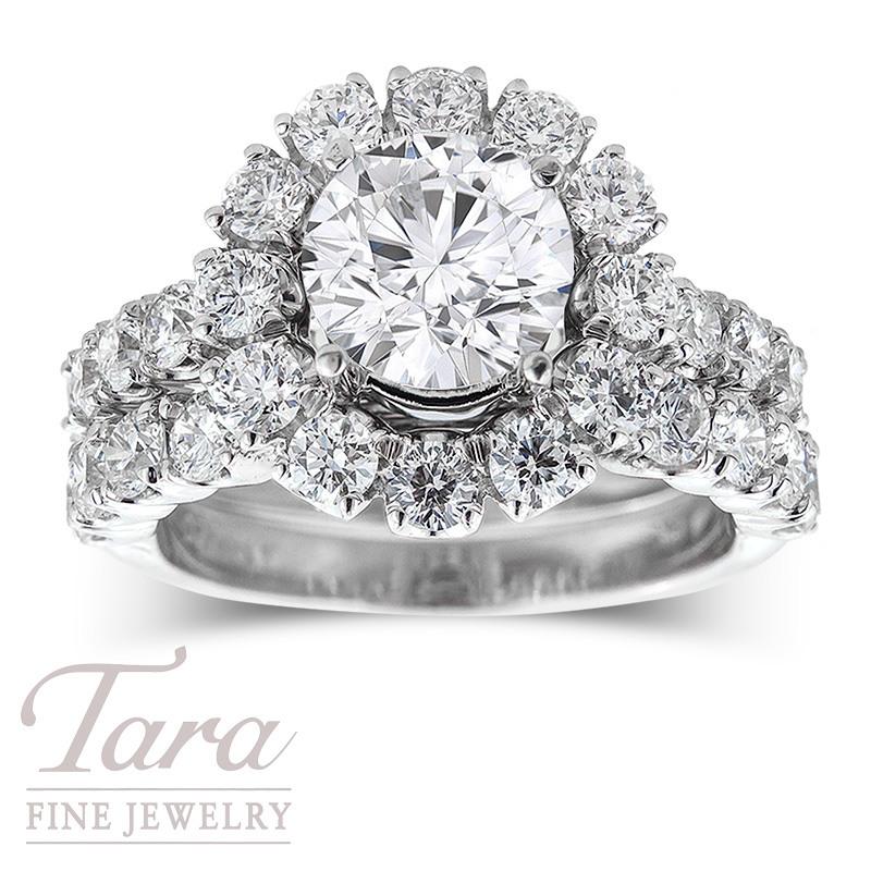 Diamond Wedding Set in 18K White Gold; 1.32 TDW Semi, .56TDW Band