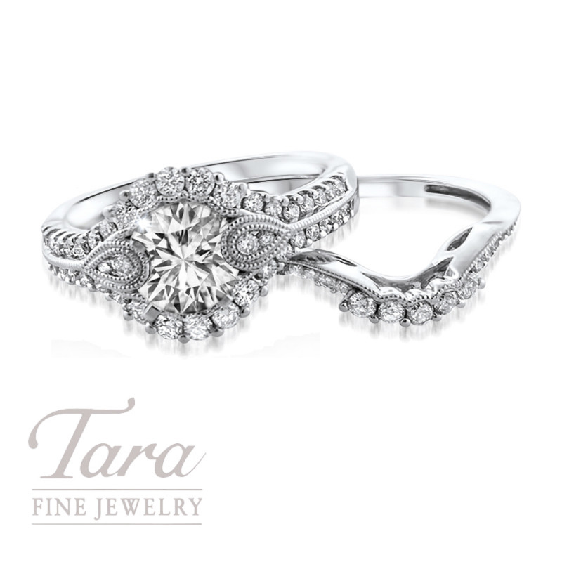 Diamond Wedding Set in 14K White Gold .55TDW Ring, .20TDW Band (Center Stone Sold Separately)