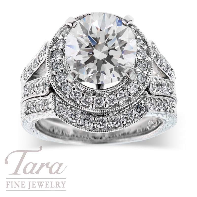 Diamond Wedding Set in 18K White Gold .85TDW (Center Stone Sold Separately)