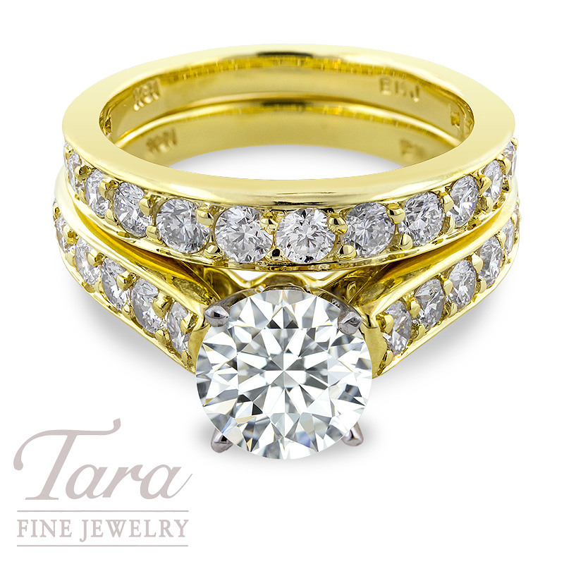 Diamond Wedding Set in 18K Yellow Gold .84TDW Semi; .87TDW Band