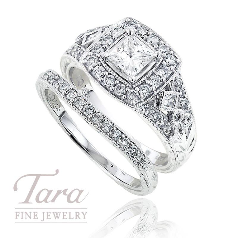 Diamond Engagement Ring in 14K White Gold, 1.04 TDW, & Band, .15 TDW.