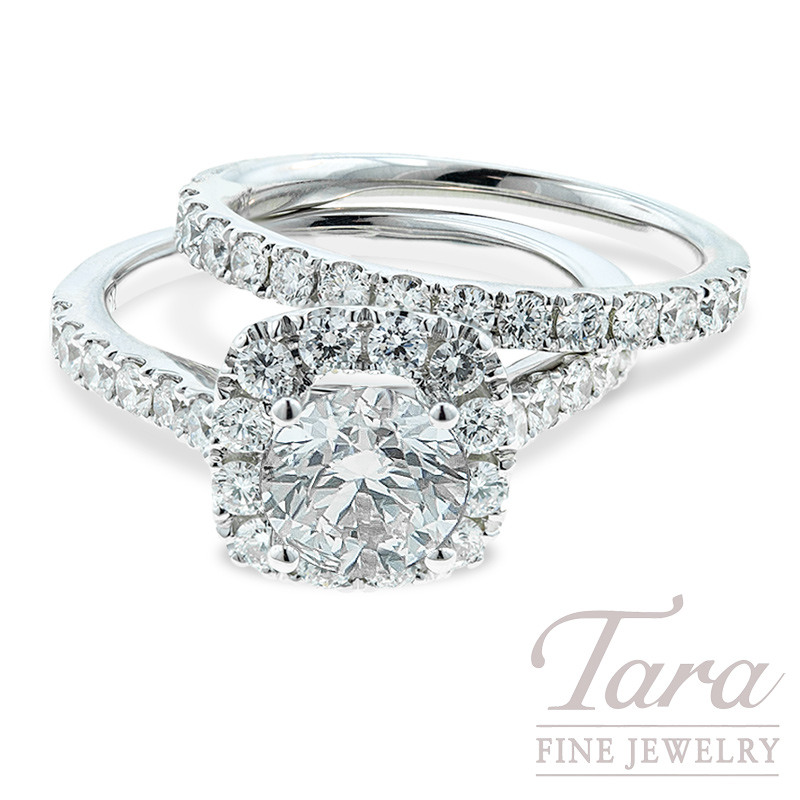 Diamond Wedding Set  18K White Gold, .89TDW Semi Mount, .55TDW Band (Center Stone Sold Separately)