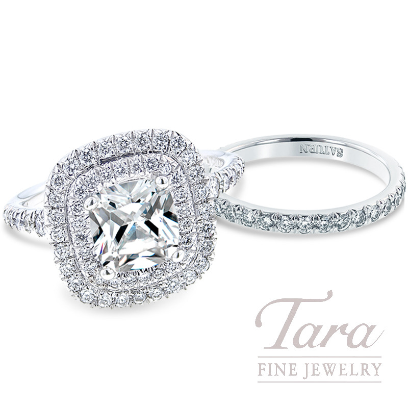 Diamond Double Halo Engagement Ring in 18K White Gold with Matching Half-Eternity Band, .77 TDW